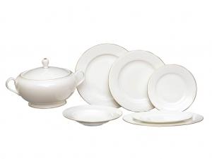 Russian Porcelain Dinner Set Golden Ribbon 24 pc
