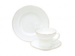 Imperial Porcelain Gold Ribbon Bone China Tea Set 3pc
