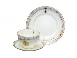 Lomonosov Imperial Porcelain Russian Gold Medallion Bone China Tea Set 3pc