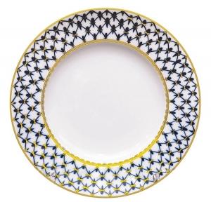 Lomonosov Porcelain Flat Plate Tulip Cobalt Net 7.9