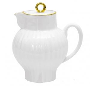 Lomonosov Imperial Porcelain Bone China Creamer Wave Golden Edge 9 fl.oz /270 ml