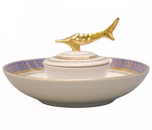 Beluga Caviar Dish Golden Blue Lomonosov Imperial Porcelain