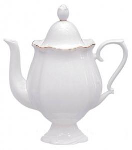Lomonosov Imperial Porcelain Bone China Coffee Pot Natasha Golden Ribbon 21.3 fl.oz/630 ml