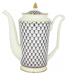 Lomonosov Imperial Porcelain Bone China Coffee Pot Julia Cobalt Net 23.3 fl.oz/690 ml