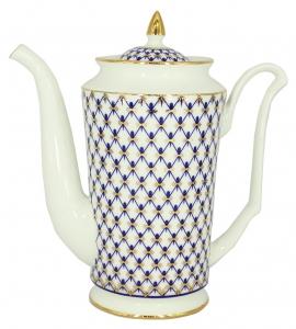 Lomonosov Imperial Porcelain Bone China Coffee Pot Julia Cobalt Net 23.3 fl.oz/690 ml