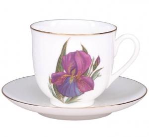 Lomonosov Imperial Porcelain Bone China Cup and Saucer Iris Flower