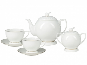 Bone China Tea Set 6/14 Pearl Golden Ribbon Lomonosov Porcelain