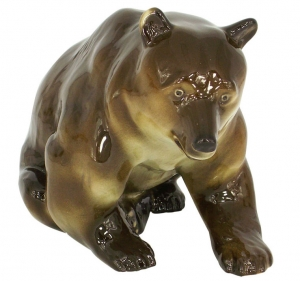 Brown Bear BIG & REAL Lomonosov Imperial Porcelain Figurine