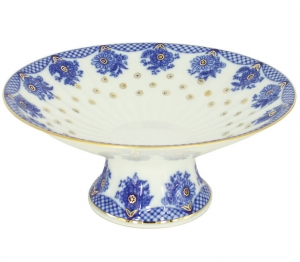 Lomonosov Imperial Porcelain Candy Vase Basket 7.6