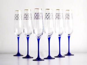 Champagne Bubbly Wine Glass 6.8 fl.oz Set 6 pc Cobalt Net
