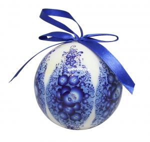 Christmas New Year Tree Decorative Ball Gzhel 3