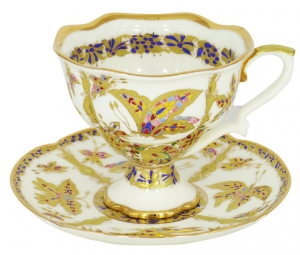 Lomonosov Imperial Porcelain Fantastic Butterflies Bone China Tea Cup and Saucer