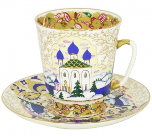 Lomonosov Imperial Porcelain Cup and Saucer Bone China May Old Russia 5.6 fl.oz/165 ml