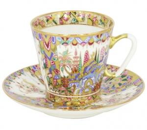 Lomonosov Imperial Porcelain Cup and Saucer Bone China Oriental Gifts 2.71 fl.oz/80 ml