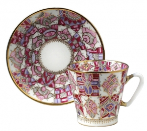 Lomonosov Imperial Porcelain Cup and Saucer Bone China Pink Pattern 2.71 fl.oz/80 ml