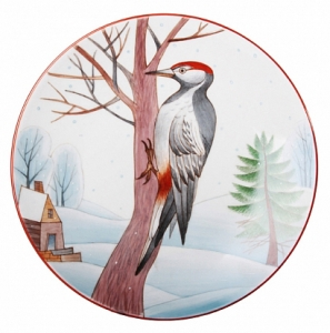 Decorative Wall Plate Great Spotted Woodpecker 7.7