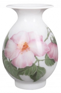 Flower Vase Birch Wild Dog-Rose Lomonosov Imperial Porcelain
