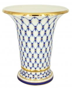 Flower Vase Empire Style Cobalt Net Lomonosov Imperial Porcelain