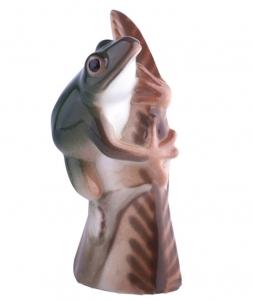 Frog on a leaf Emerald Lomonosov Imperial Porcelain Figurine