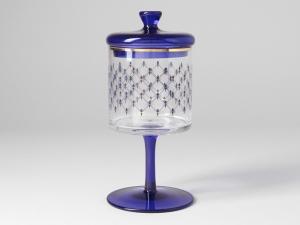 Imperial Porcelain Factory Glass Covered Jam Honey Vase Cobalt Net