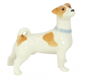Jack Russell Terrier Dog Standing Lomonosov Porcelain Figurine