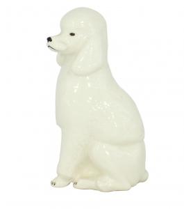 King Poodle Dog White Colored Lomonosov Porcelain Figurine