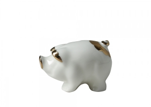 Little Piglet Pig Golden Lomonosov Porcelain Figurine