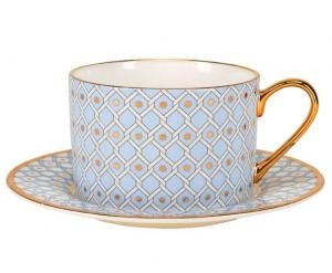 Lomonosov Bone China Porcelain TeaCup And Saucer Azur v.2 8.45 oz 250 ml