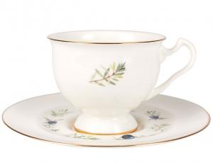 Lomonosov Imperial Bone China Tea Set Cup and Saucer Aisedora Crowberry 8.1 oz/240 ml