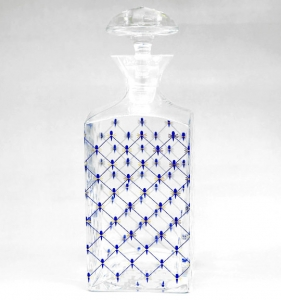Lomonosov Imperial Glass Cognac Decanter Clear Top Cobalt Net 33.8 oz/1000ml