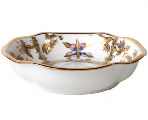 Lomonosov Imperial Porcelain Bone China Porcelain Jam Dish Natasha Fantastic Butterflies