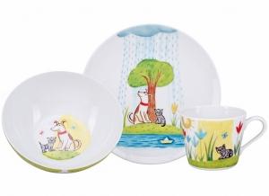 Lomonosov Imperial Porcelain Baby Set: Cup, Plate, Bowl Let's Be Friends