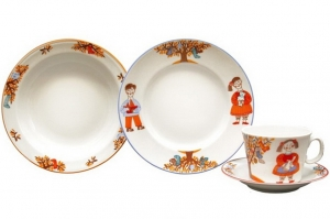 Lomonosov Imperial Porcelain Baby Set 4ps: Cup with saucer, Plate and Bowl Miracle Tree