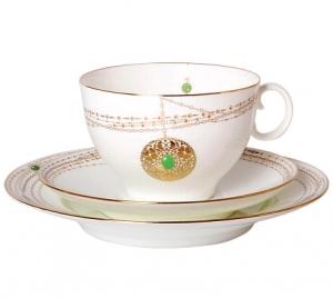 Lomonosov Imperial Porcelain Bona China Gold Medallion Tea Set 3pc