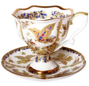 Lomonosov Porcelain Bone China Coffee Cup and Saucer Fantastic Butterflies