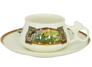 Lomonosov Imperial Porcelain Bone China Cup and Saucer Bilibina Magical Landscape