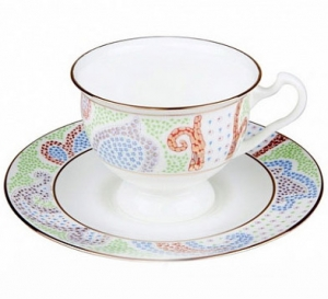 Lomonosov Imperial Porcelain Bone China Cup and Saucer Blue Marietal