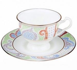 Lomonosov Imperial Porcelain Bone China Cup and Saucer Purple Marietal