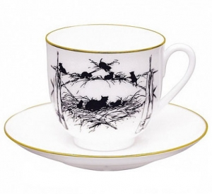 Lomonosov Imperial Porcelain Bone China Cup and Saucer Kittens