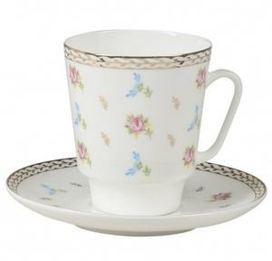 Lomonosov Imperial Bone China Cup and Saucer May Flower Waltz 5.6 fl.oz/165 ml 2 pc