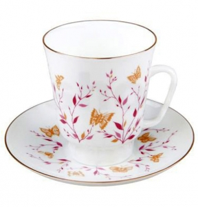 Lomonosov Imperial Bone China Cup and Saucer May Pink Branches 5.6 fl.oz/165 ml 2 pc