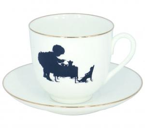 Lomonosov Imperial Porcelain Bone China Cup and Saucer Tea Time 6.1 fl.oz/180ml