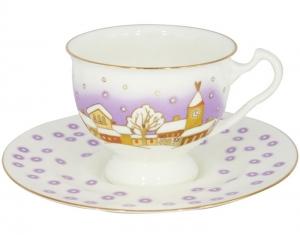 Lomonosov Imperial Porcelain Bone China Tea Cup and Saucer Snowfall