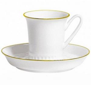Lomonosov Imperial Porcelain Bone China Tea Cup and Saucer Vertical Golden Edge