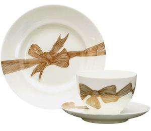Lomonosov Imperial Porcelain Bone China Tea Set Platinum Bows 3pc 5.4oz/160ml