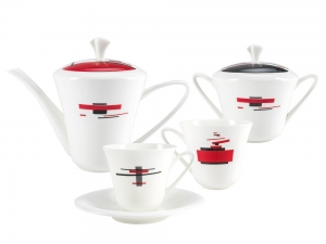 Lomonosov Porcelain Bone China Tea Set Service Red and Black 14 items
