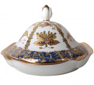 Lomonosov Porcelain Butter Holder Dish Natasha Fantastic Butterflies