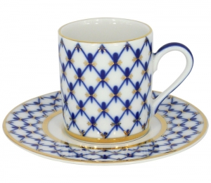Lomonosov Imperial Porcelain Espresso Coffee Cup Solo Cobalt Net 3.4 oz/100 ml