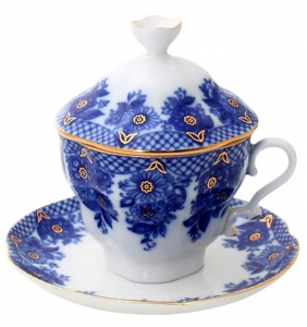 Lomonosov Imperial Porcelain Covered Cup and Saucer Basket Gift-2 8.45 oz/250 ml