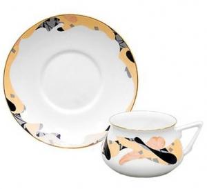 Lomonosov Imperial Porcelain Cup and Saucer Bilibina Caramel